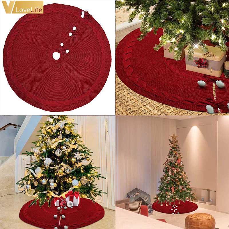 Albero di Natale gonne a maglia Grande Tappeto rosso Buon Natale Decorazione per la casa Albero Mat Capodanno decorazione Bigsize 125 centimetri