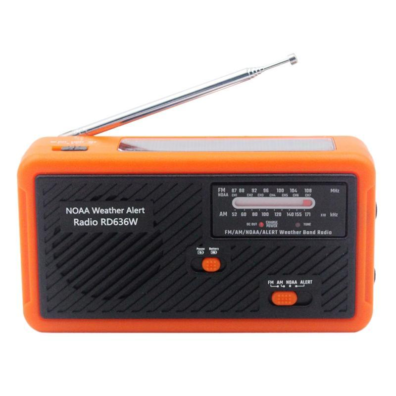 Emergency Radio FM AM NOAA Weather Radio Solar Crank Mão com LED 1000mAh bateria para carregar telefone