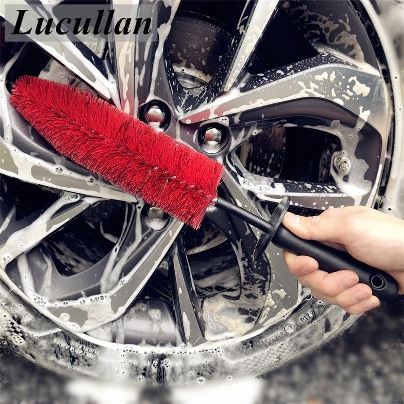 """Lucullan 17 """"Carro RIM RIM Spoke Engine Bay Brushes Flexível Ferramentas de limpeza de cabelo macio com tampa de borracha para detalhadores 201214"""