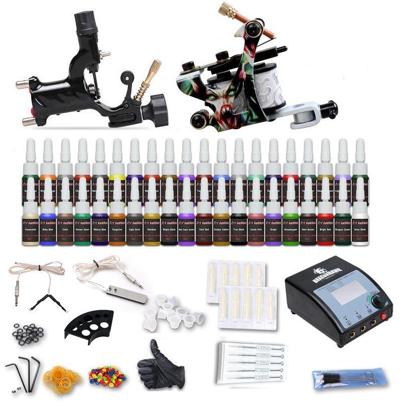 Komplettes Tattoo-Kit 2 Guns Maschinen 40 Farben Tinte Einwegnadeln Netzteile Griffe Griffe D100-2DH