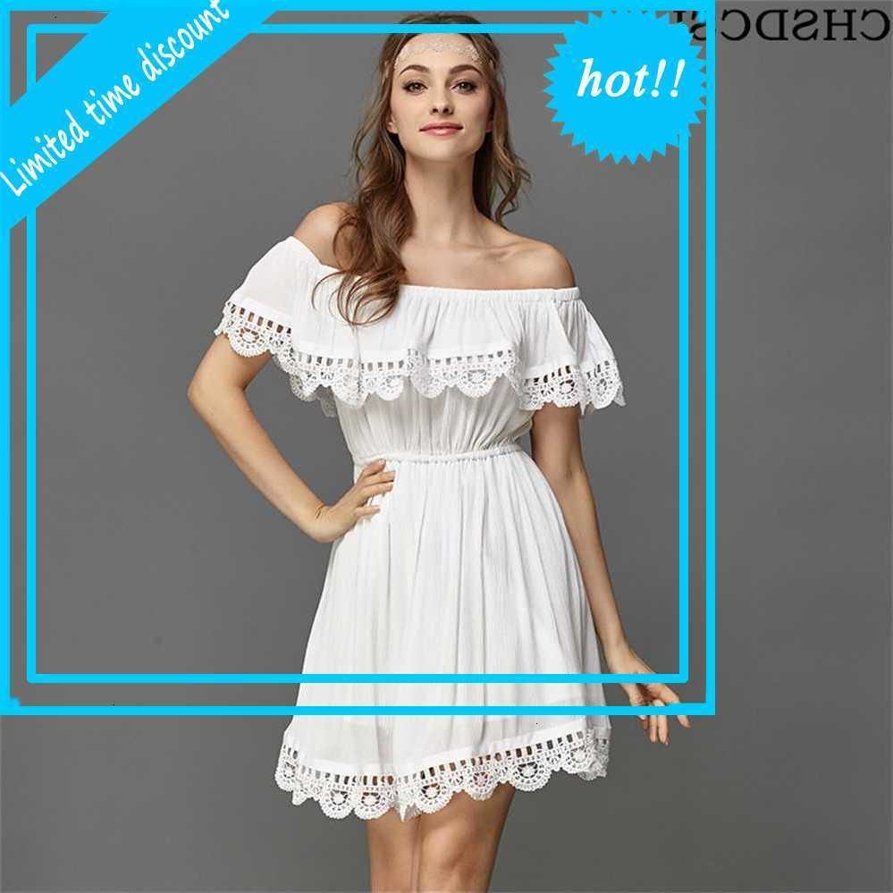 Chsdcsi edge robe blanche femmes élégante vintage mode sucré stylish sexy slash cou décontracté plage été tournesol Vestido