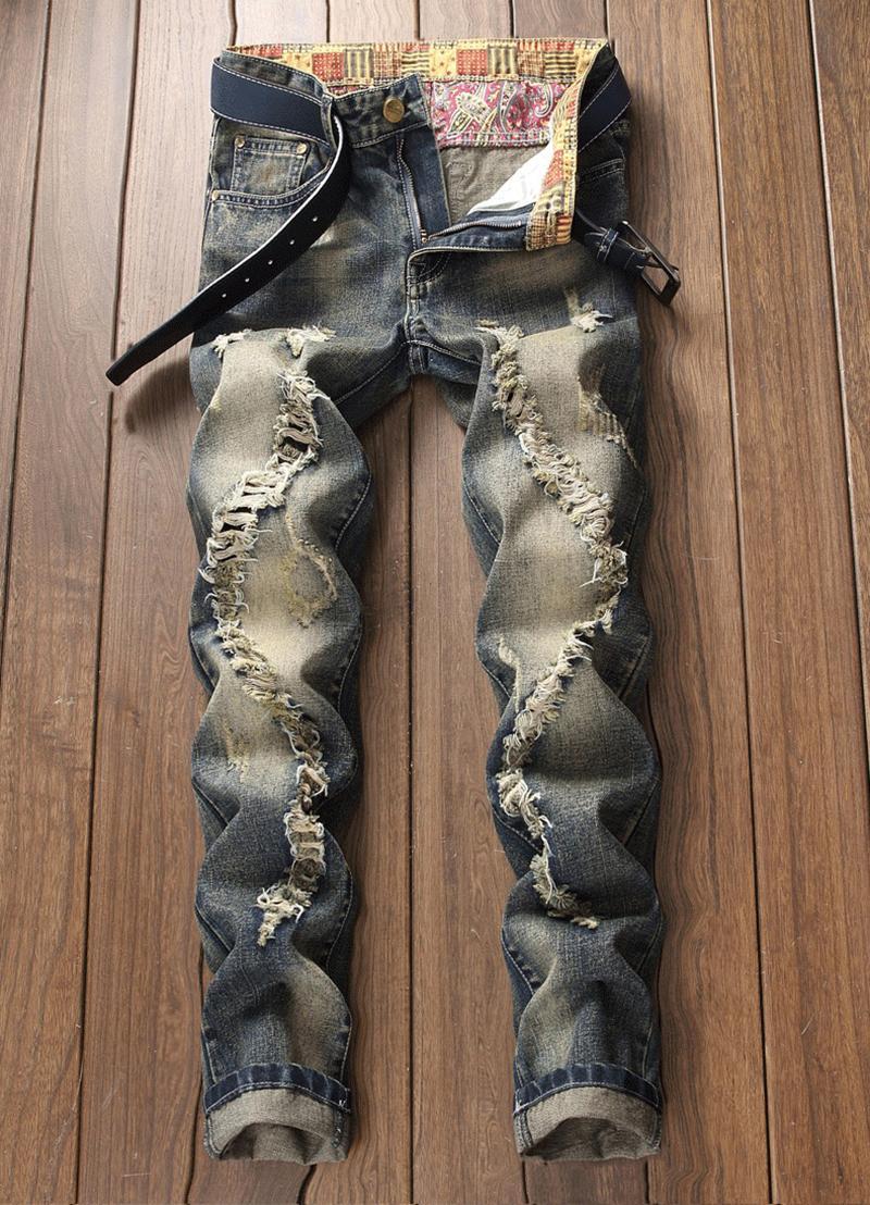 رجالي عارضة جينز مستقيم الرجعية ضئيلة نحيل جينز الأزياء مصمم الرجال الهيب هوب الأزرق الدينيم السراويل