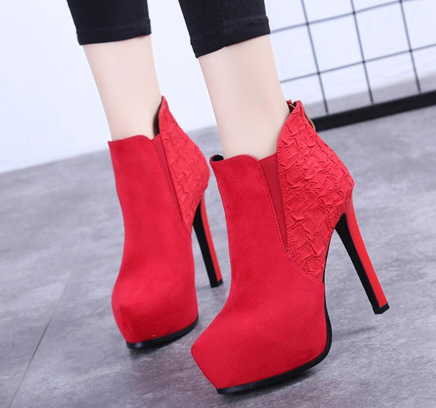 12cm sivri stiletto stiletto ayak bileği botlar su geçirmez platformu platform topuklu Martin bot ayakkabı sonbahar ve kış yüksek topuklu