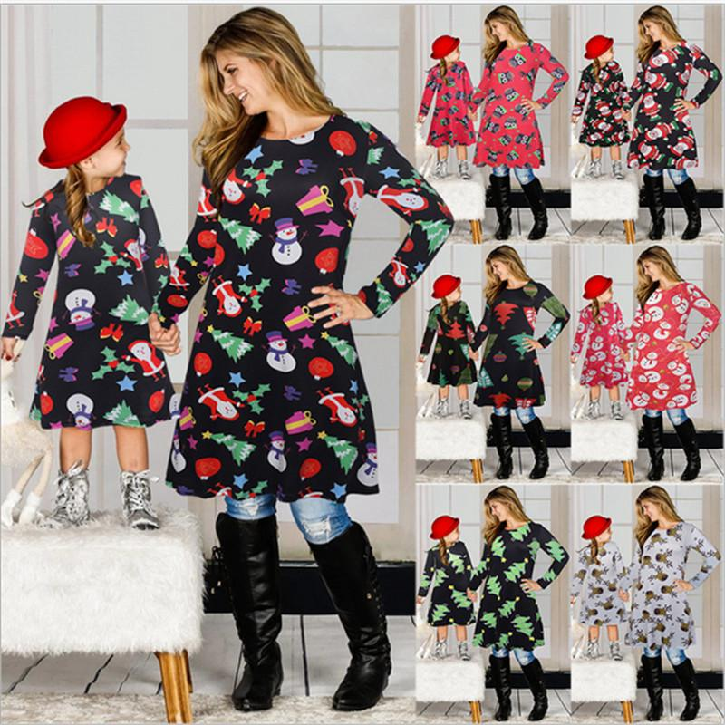 Christmas Family Matching Clothes Suit Mother Daughter Matching Dresses Santa Claus Skirt Christmas Print Parent-child Dress Outfits E101901