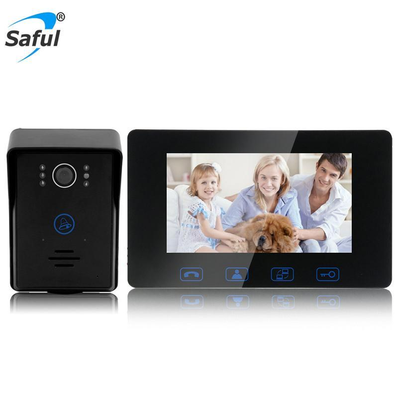 Saful 7 pulgadas TFT LCD por cable teléfono de la puerta de vídeo portero automático La cámara impermeable del monitor del intercomunicador del timbre Smart Home