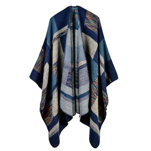 2020 donne poncho tappi di cachemire moda plaid grandi spessa sciarpa calda poncho inverno Coperta maglia echarpe manteau femme hiver