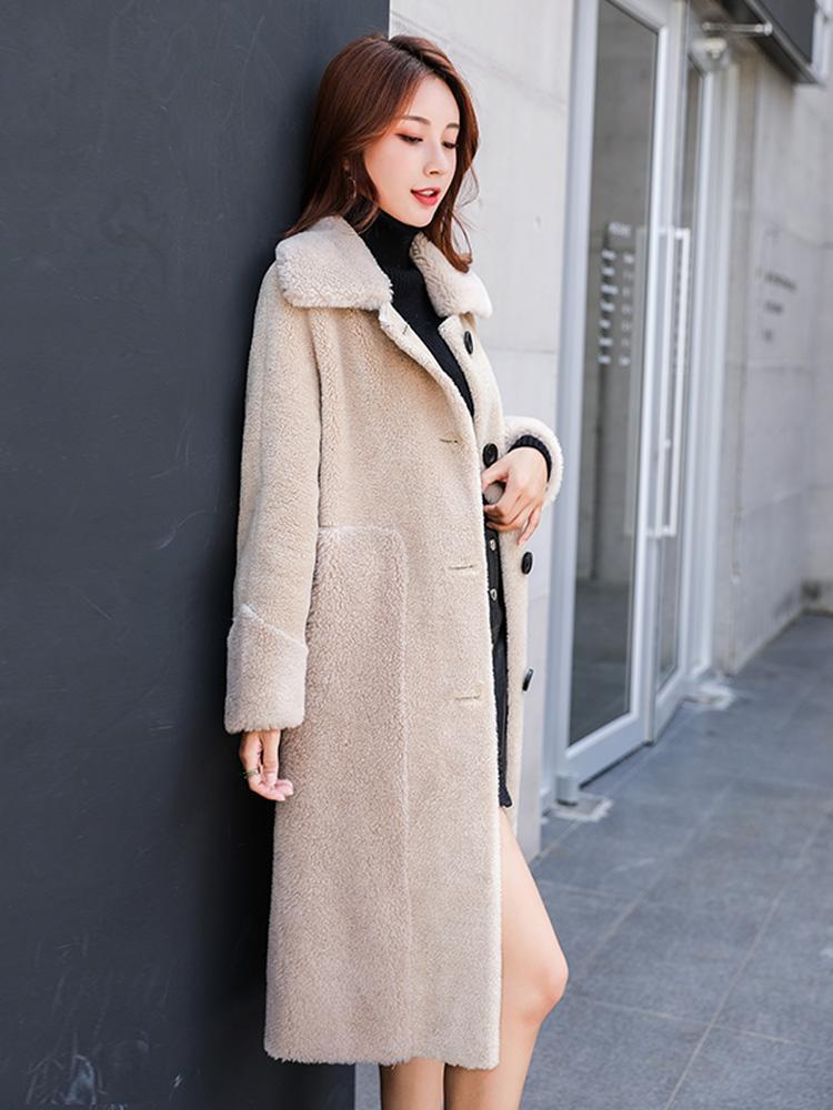 Real del 100% Esquilar femenina de las mujeres invierno largo de lana chaqueta de piel de Corea 2020 de la vendimia Escudo caliente de los pantalones Hiver ZX162