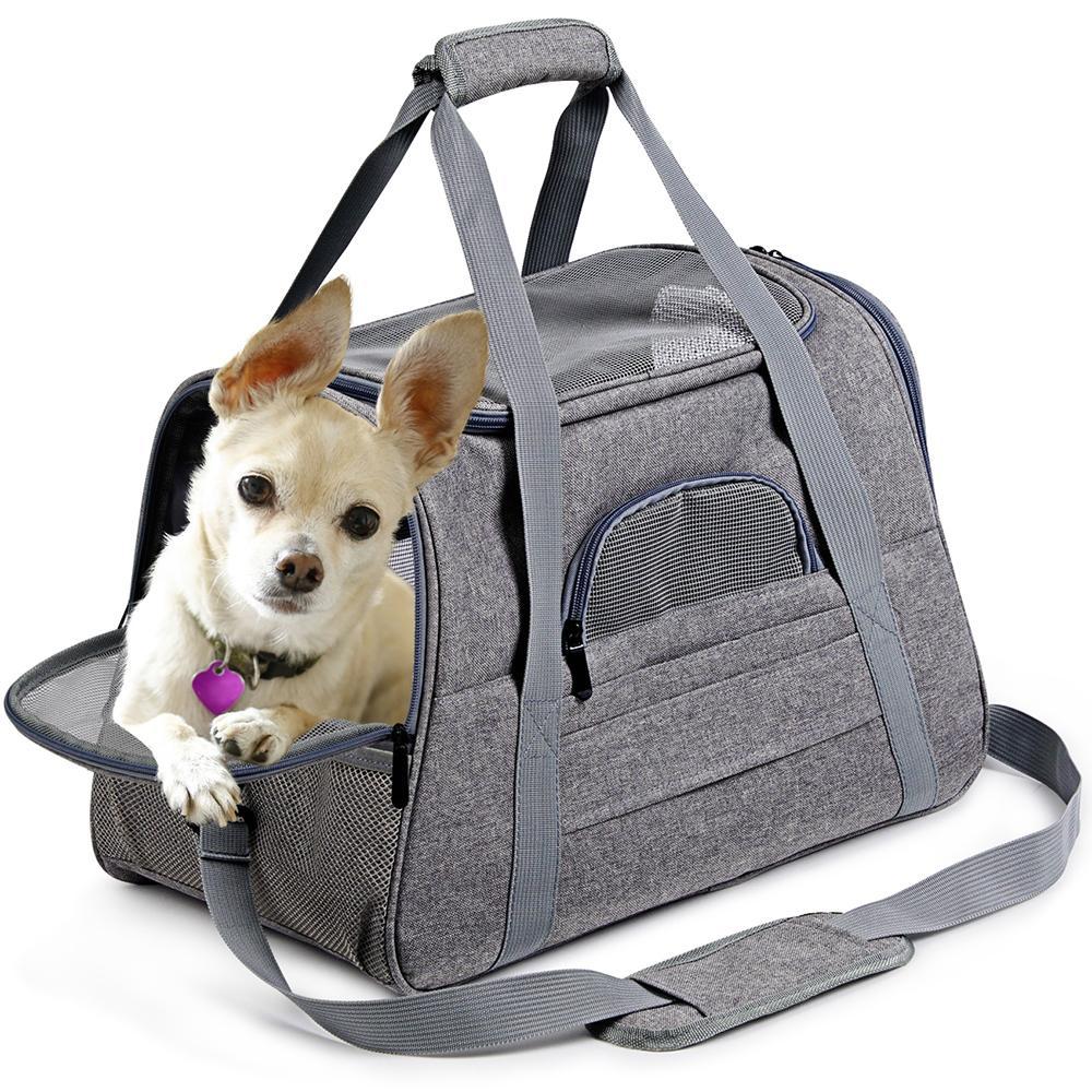 أكياس الناقل الكلب المحمولة الحيوانات الأليفة القط الكلب حقيبة تنفس القط الناقل حقيبة شركات الطيران المعتمدة نقل للقطط كلب صغير LJ201201