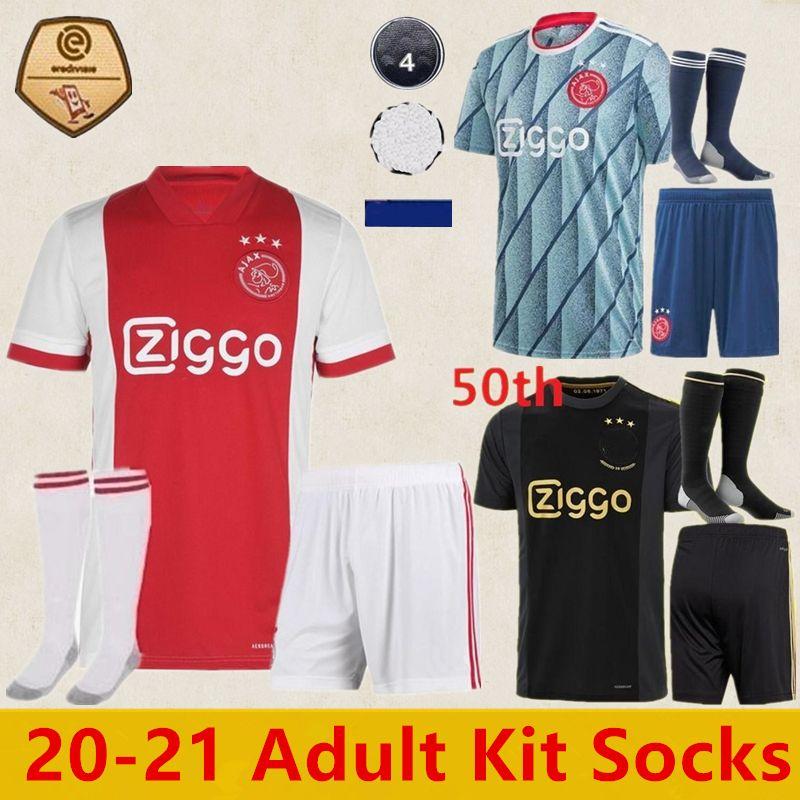 kit Adulto meias 2021 AJAX FC jérsei de futebol ajax 3ª footbal NERES NOURI Dolberg HUNTELAAR ZIYECH jersey 2021 set ajax 50 de futebol