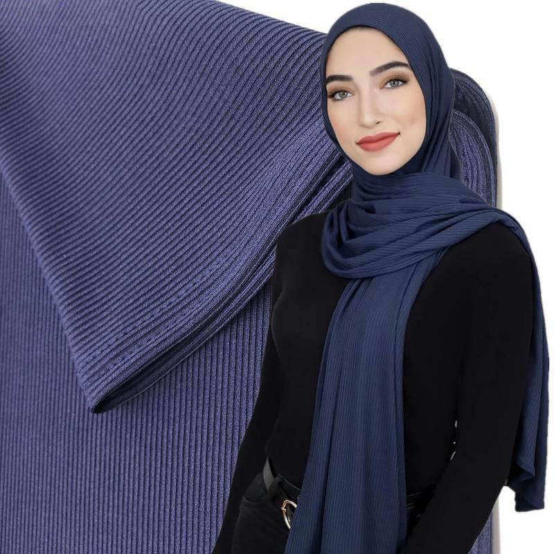 100pcs imballaggio alta qualitty costine Jersey sciarpa eleganti donne inverno elastici musulmano