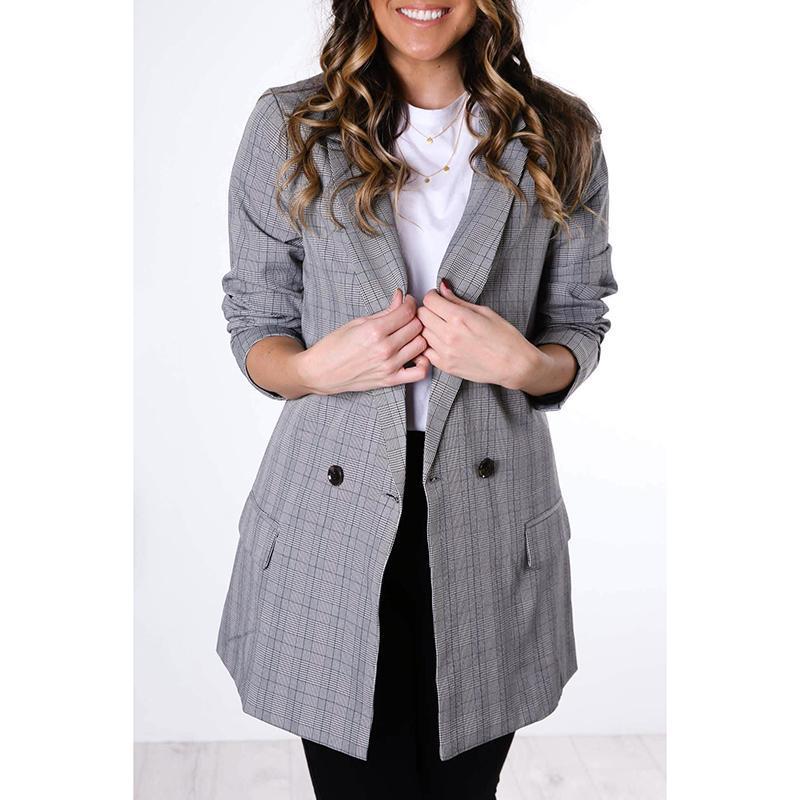 2020 Femmes Automne mince Rétro élégante Blazers Plaid Bureau Mesdames Tout match en vrac Minimaliste Business Style Costumes Casual SJ4555Y