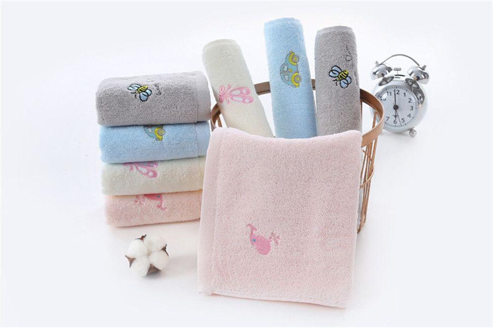Pure cotton children's towel 25*50 embroidered children's towel baby absorbent towel