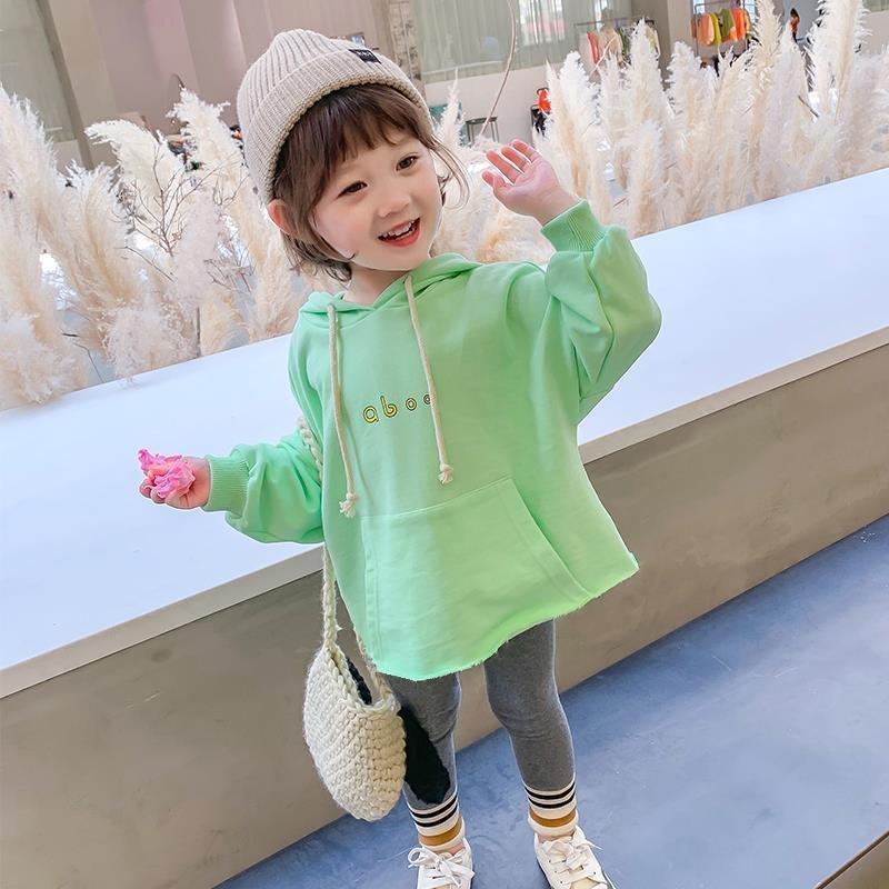 Roupas das crianças Meninas Primavera Outono Nova Moda Letra Kid's Corean Hoodies Sweatshirt conjunto (top + calça) y200325