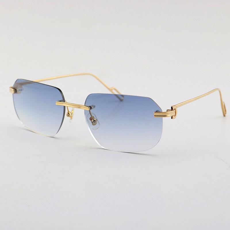 بيع الأزياء النظارات الشمسية المعادن uv400 حماية بدون شفة 18k الذهب الذهب والنساء نظارات الشمس درع الرجعية تصميم النظارات إطارات الرجال