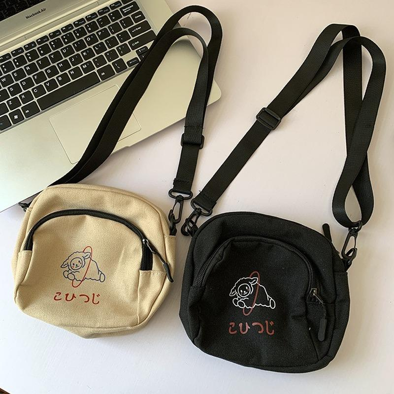 Heißer verkauf schulter cartoon kleine tasche handtaschen taschen mini student telefon tasche lässig druck leinwand frauen flap crossbody damen koreanisch okmqd