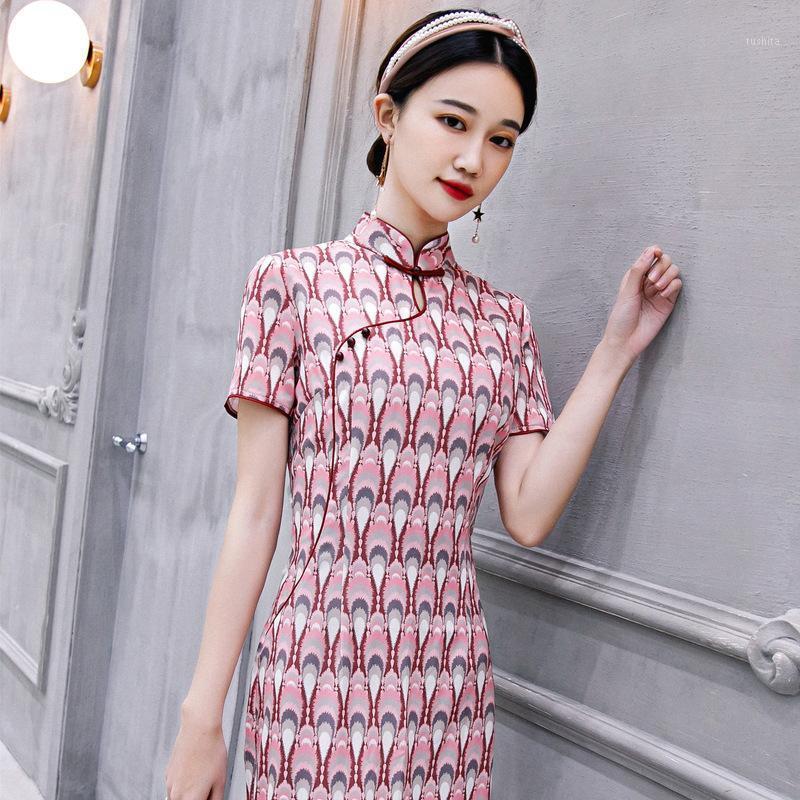 Летние молодые девочки печати традиционные китайские свадебные платья для женщин длиной колена Cheongsam Qipao сатин шелковые платья1
