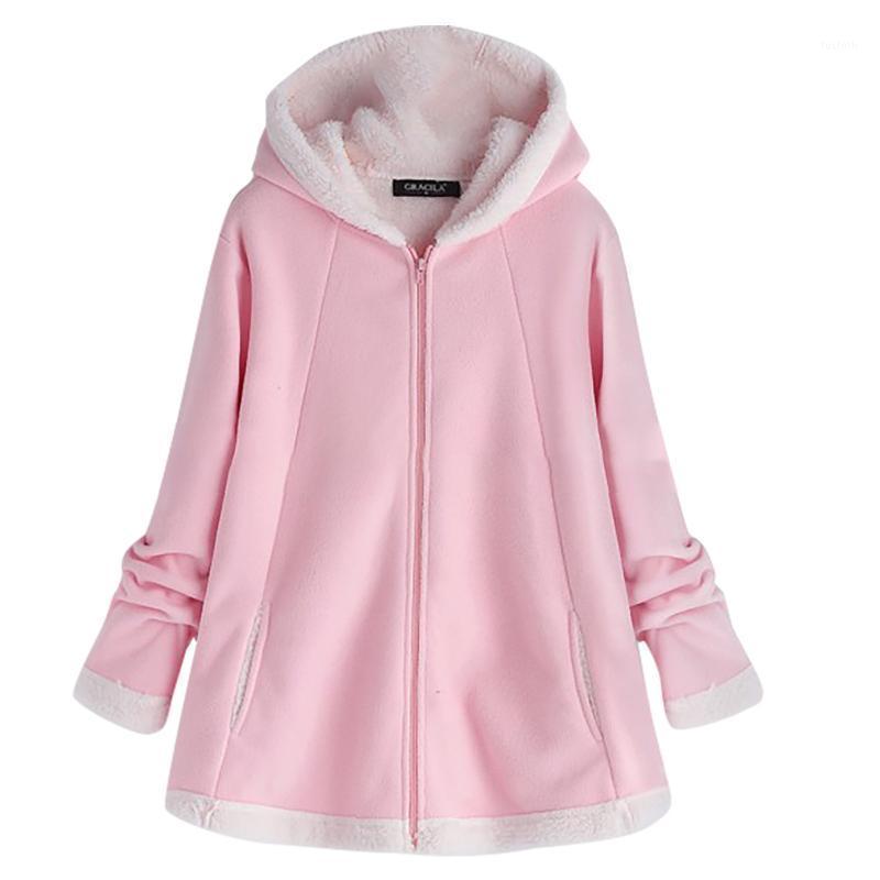 Зимние женские толстовки с капюшоном Женская мода зимний карманный карман сплошной теплый молния с длинным рукавом плюшевые толстовки толстовка женская1