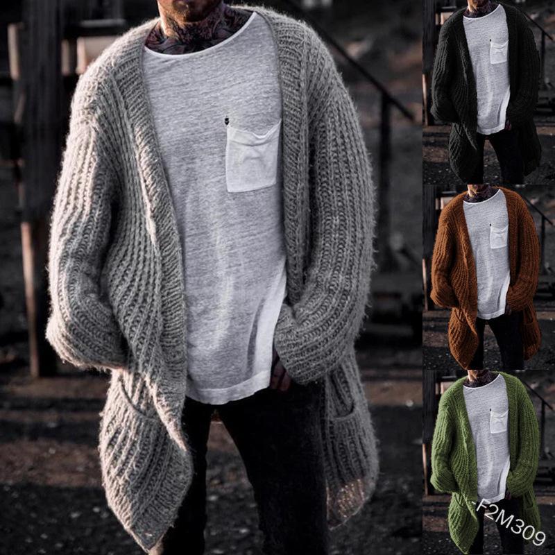 Mens Feste Farbe Strickpullover Frühling Herbst Langarm V-Ausschnitt Strickjacke Pullover Homme Loose Street Wear