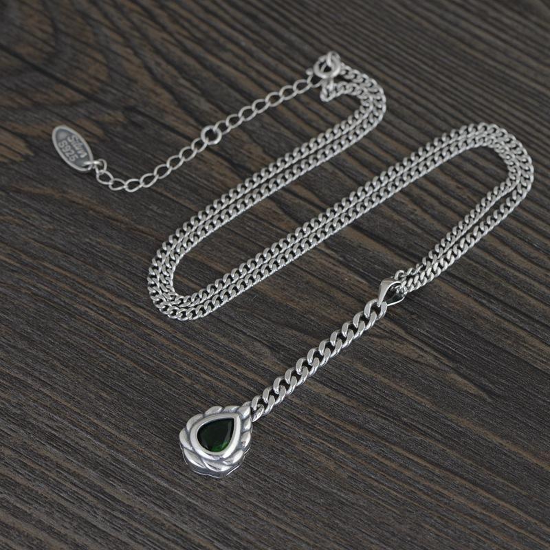 FNJ Heart Pendant Necklace 925 Silver 60cm Fine Vintage Original S925 Silver Women Necklaces for Jewelry Making Green Zircon