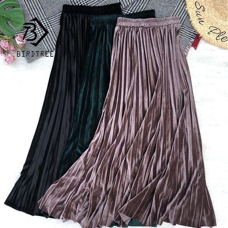 2020 Autumn Winter Women Golden Velvet Long Skirt Korean Ladies Elastic Casual High Waist Skirts Pleated Bottoms B07004R C1111