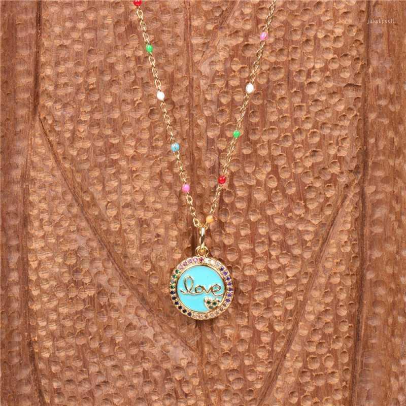 """""""Amor"""" collar colgante de acero inoxidable redondo collar de cristal colorido cadena de clavícula joyería de moda regalos para mujeres1"""