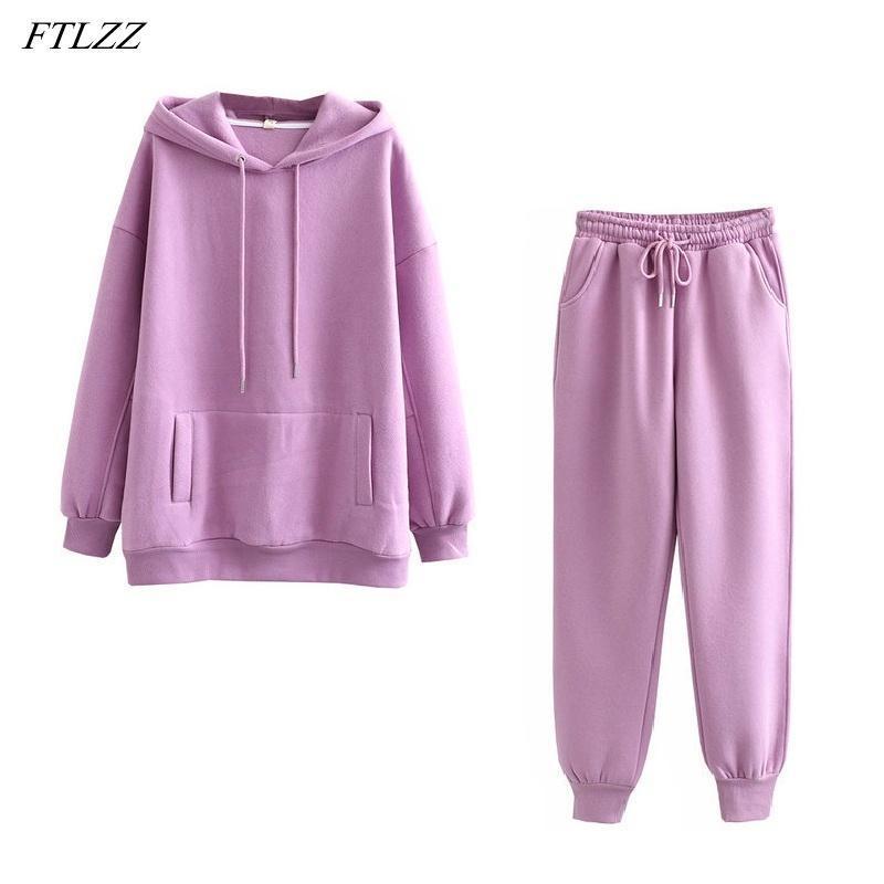 FTLZZ 2020 Yeni Sonbahar Kış Kadın Kalın Fleece% 100 Pamuk Suit 2 adet Hoodies Kazak ve Pantolon Suits ayarlar