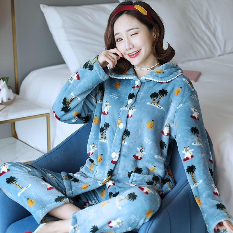 Осенняя зимняя пижама наборов для женщин густой теплый фланелевой пижамы наборы с длинным рукавом топы + брюки ночная рубашка