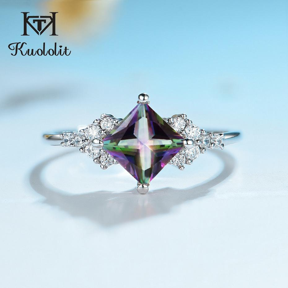 Kuololit Natural Mystic Topaz Gemstone Rings for Women 925 Sterling Silver Square Cut multi color Stone Engagement Fine Jewelry 1019