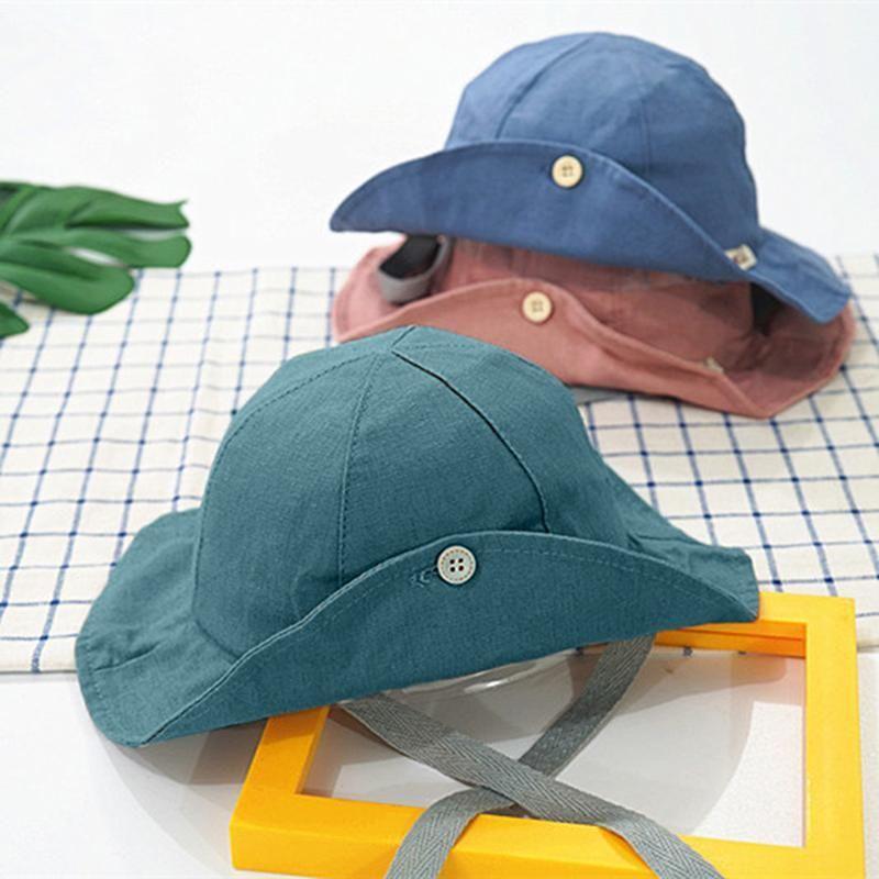 Летняя девочка козырек хлопок солнце крышки осень детские ведро шляпы детские рыболовы шапка детские пляжные шапки Breim Sun шляпа для мальчика