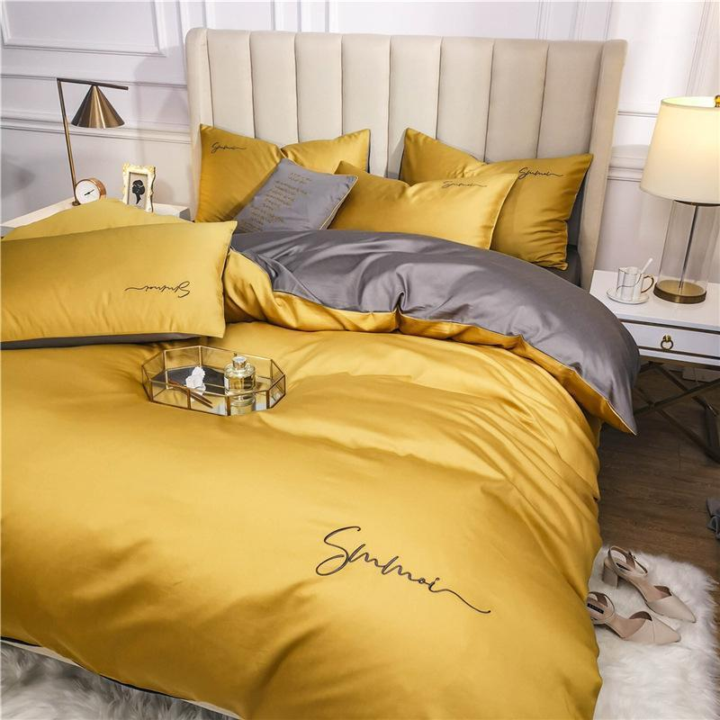 OLOSEY 60S LANG-Heftklammer Baumwolle Bettwäsche-Set Ägyptische Massivfarbe Stickerei Bett Set Bettdecke Bettbettbettbett-Spread-Sitz Sheet1