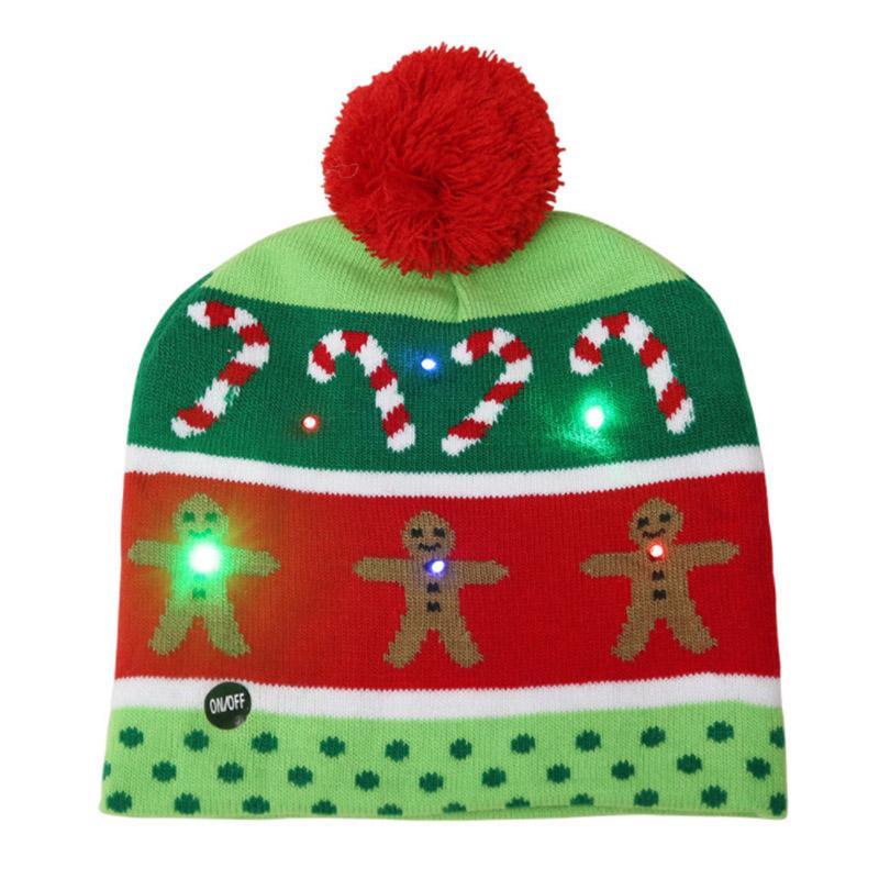 جديد قبعة عيد الميلاد الكبار الملونة مضيئة قبعة دافئة أزياء عيد الميلاد led مضيئة تزلج قبعة مضيئة وشاح مضيئة EWB2354