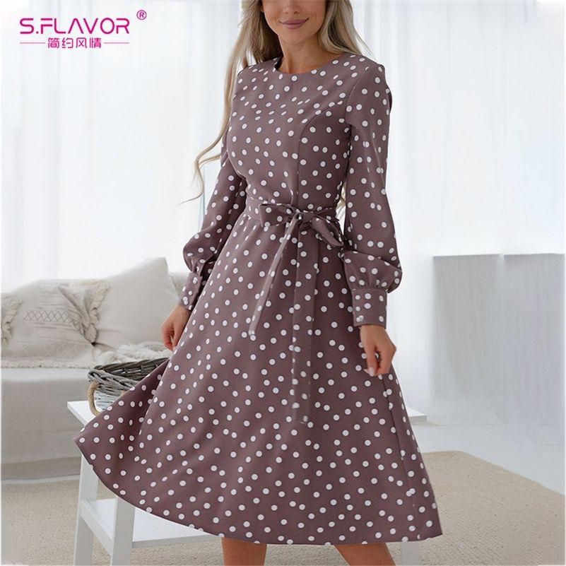 S.FLAVOR Women Vintage O Neck Dress Casual Polka Dot Print A-Line Party Vestidos Autumn Winter Fashion Long Sleeve Mid Dress 201028