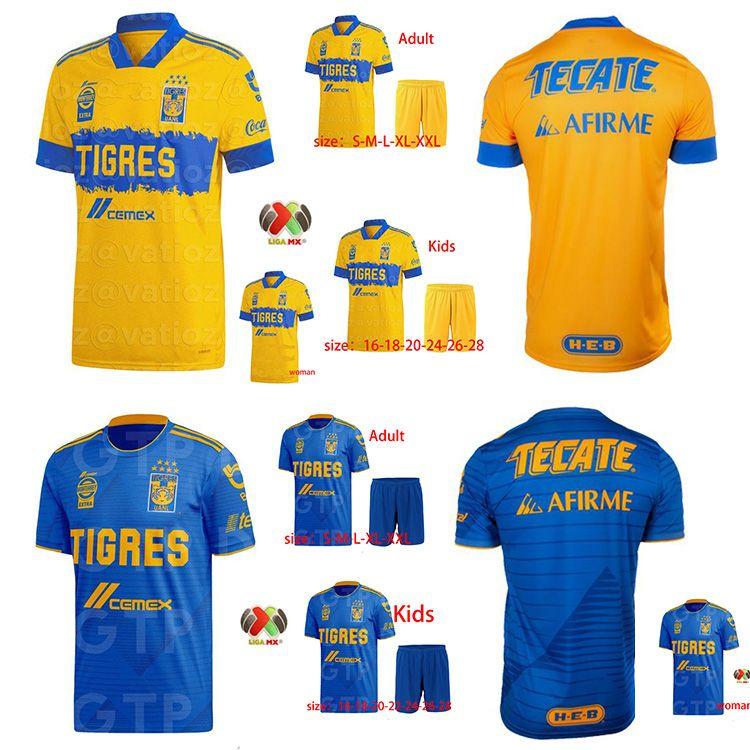 2020 2021 Uanl Tigres Gignac Football Suit 20 21 Vargas Camiseta Maillot Casa e Away Pizarro Mexican Adult Adult Men's + Child's Football Sui