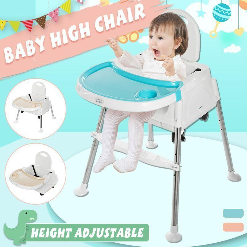 3 in 1 Baby Feeding Chair Portable High Chair with Wheels Adjustable Kid Booster Seat Stroller Children Foldable Dining Chair LJ201110