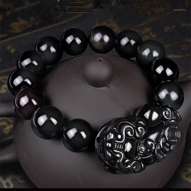 Liebhaber Natürlicher Schwarz Obsidian Buddha Armband Acht Patron Heilige Chinesische Tierkreis Runde Perlen Armband Männer Frauen Glück Schmuck1