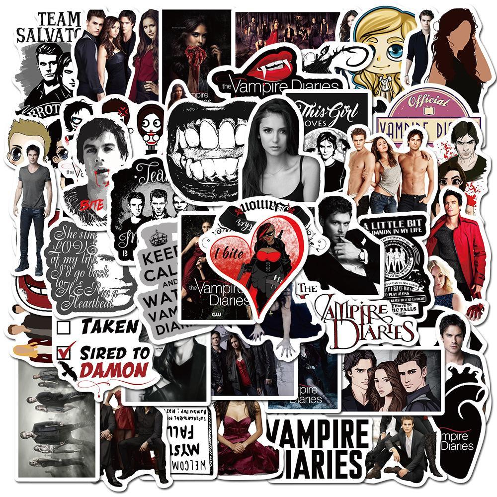 50 adet / grup Vampire Diaries Kişiselleştirmek için Dizüstü Bilgisayar, Araba, Kask, Kaykay, Bagaj Grafiti Çıkartmaları