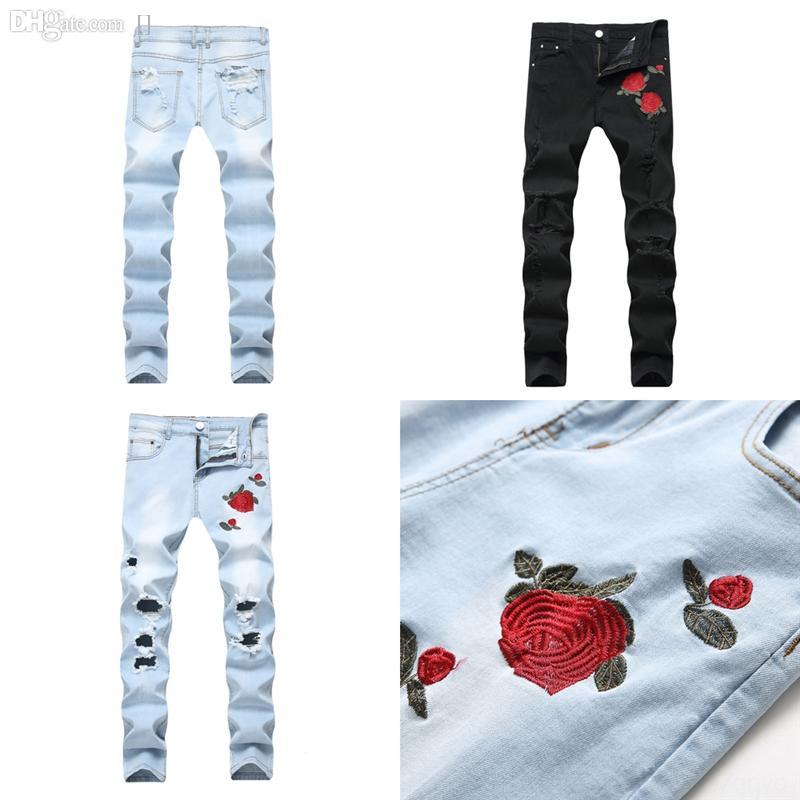 mkqwb vestido jeans strappato jeans in difficoltà jeans fori sfilacciati ricamato cranio stella corona jeans streetwear mens moto motociclista maschio