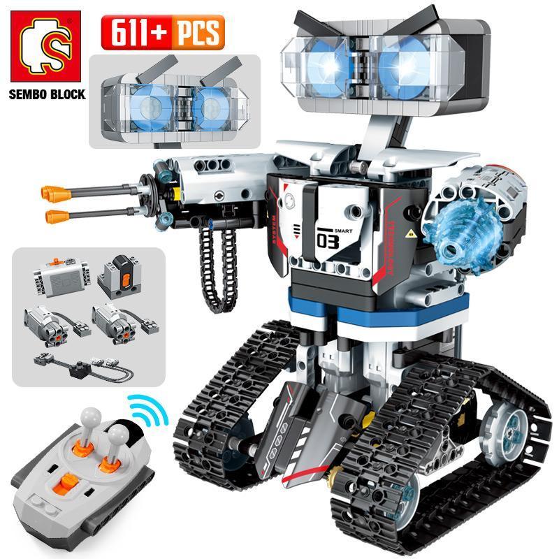 2020 الجديدة Sembo تكنيك الصليب الأحمر روبوت بناء كتل الخالق مدينة التحكم عن بعد الذكية سيارة روبوت سلاح الطوب ألعاب مثيرة للyxlPoD الأطفال