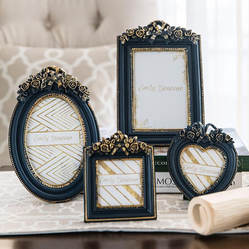 Rahmen Retro Geschnitzte PO Frame American European Style Kreative Hochzeit Desktop Bild Dekoration Tisch Ornamente
