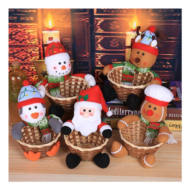 Caramelo de la Navidad la cesta del almacenaje de la decoración de Santa Claus decoraciones de Navidad para la tabla del hogar Decoracion Navidad Feliz