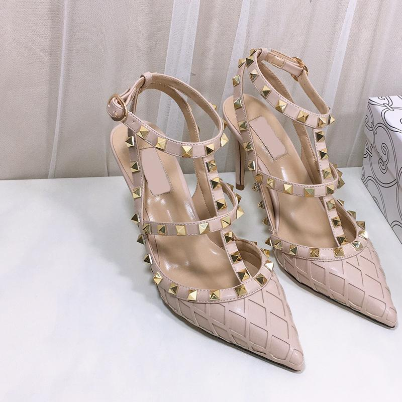 New designer t-strap sexy women pumps pointed toe 10cm high heels fashion rivets ankle strap party lady shoes size 35-42
