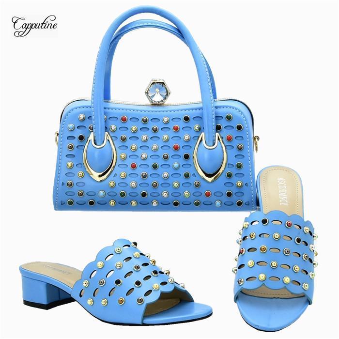 Últimos zapatos cielo azul zapatilla y el conjunto de bolso para la boda / fiesta 111-1 talón de 4,5 cm de altura