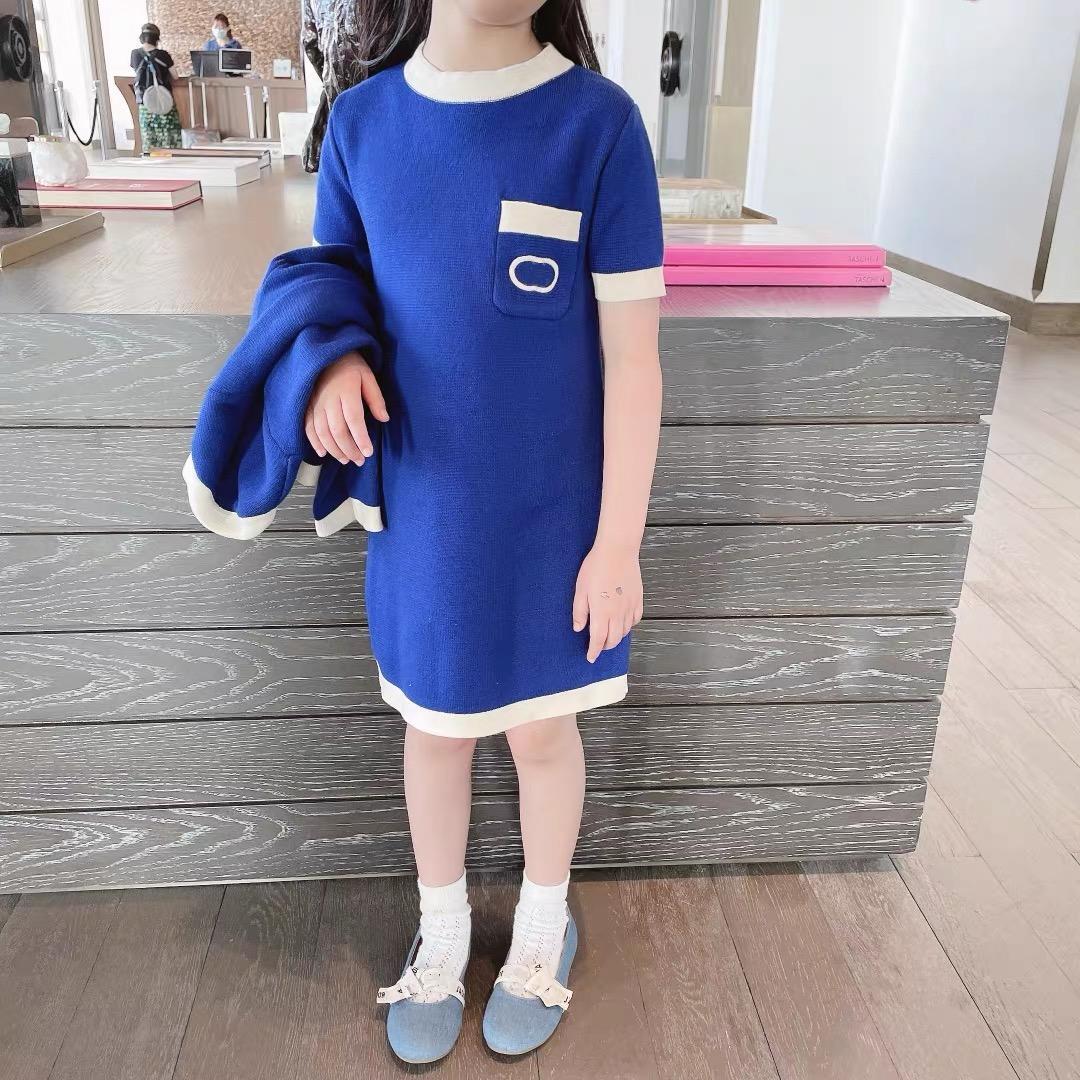 2pcs / Set Robe à tricoter des filles avec cardigan 2021 Spring Summer Summer Baby Girl Solid Sweater Subsside Vêtements pour enfants