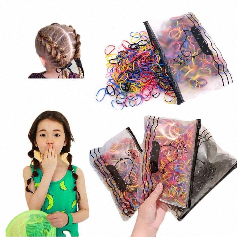 1 Satz hohe elastische Kinderhaarbänder Mädchen Gummibänder Gum Für Pferdeschwanz Holde bunte scrunchie chouchou Zubehör MBXr #