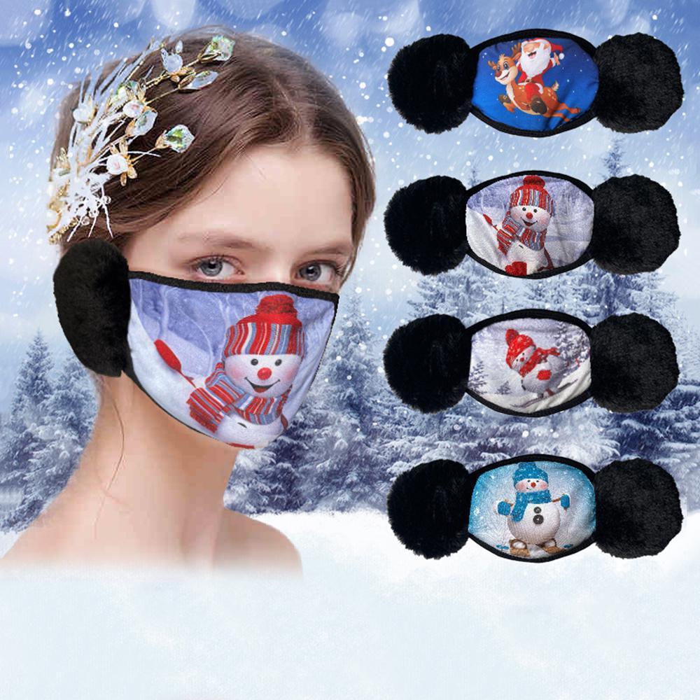 2 в 1 зимнее зимнее увлечение маски для ушей рот плюшевые защитные маски для взрослых теплые дети охватывают густые уха рот-муфеля детей для лица и ребенка AHA2084 JXQXT