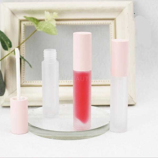 100pcs Lipgloss Konteynerleri Buzlu temizleyin Kozmetik Yuvarlak Boru Ambalaj Dudak Tüpler ile Pembe Kapak boşaltın 5ml