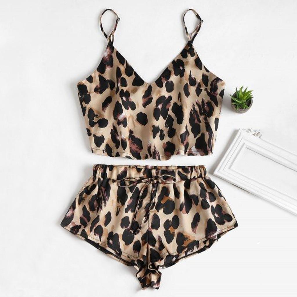 2020 leopardo atractivo de la ropa interior ropa de seda las mujeres del traje de Camis recortada Top shorts 2pcs de la muñeca ropa de dormir ropa de noche rojo Conjunto de pijama