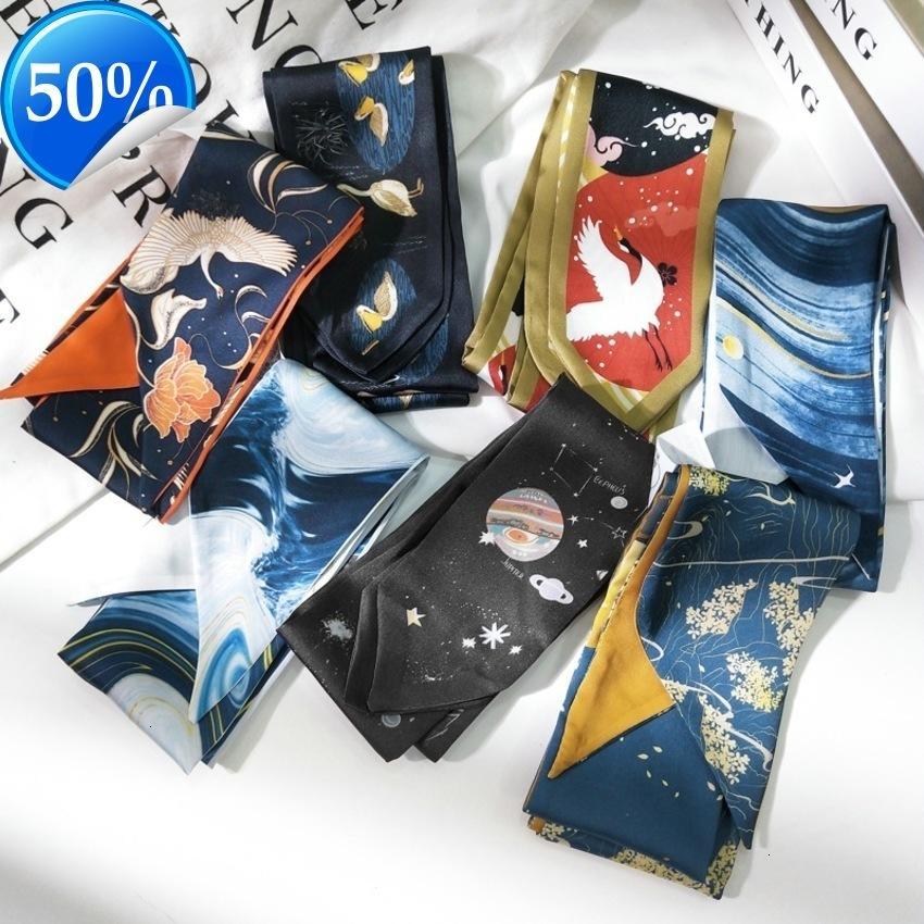 Neue Druckstreifen Seide Schal Frauen Frühling und Herbst Korea Vielseitige Handgelenkband Lange Tasche Gürtel Haarband NTAQ