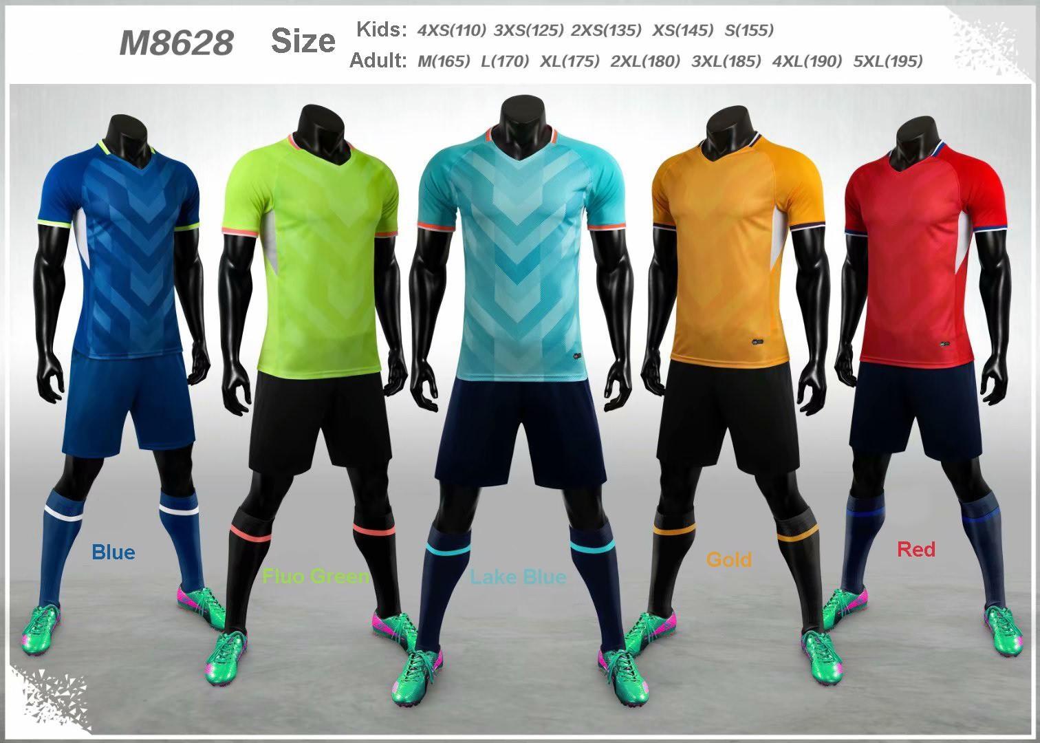 2020-2021 Boş Yetişkin Çocuk Futbol Jersey Seti Futbol Takımı Erkekler Çocuk Futbol Eğitim Üniformalar Seti De Ayak Takımı Özelleştirilmiş M8628