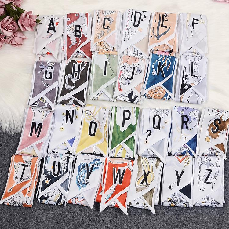 100*6cm Small Silk Scarf A to Z 26 Letters Letter Headband scarrves & Wraps for bags Women Female Ribbon Neck Belt Hair Bands Scarf